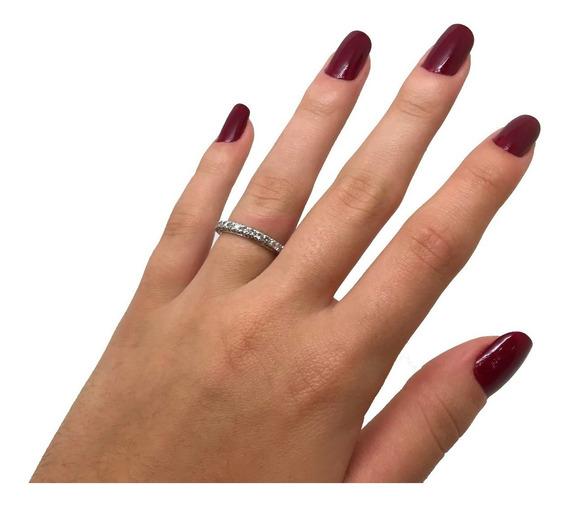 Aliança Diamantes Brilhantes Ouro Branco 0,62cts 0815 K990
