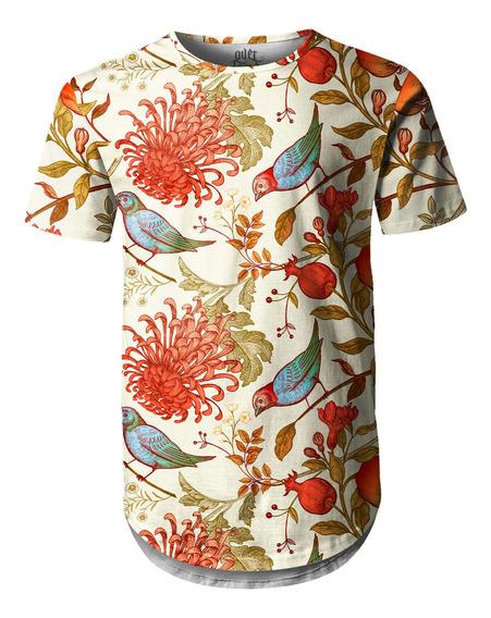 Camiseta Masculina Longline Swag Flor Crisântemo