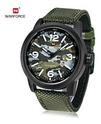 Relógio Naviforce 9080 Esportivo Militar Camuflado Brinde