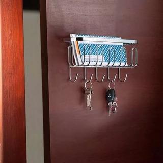 Porta Chaves Em Aço Cromado Parede Gancho Chaveiro Cartas