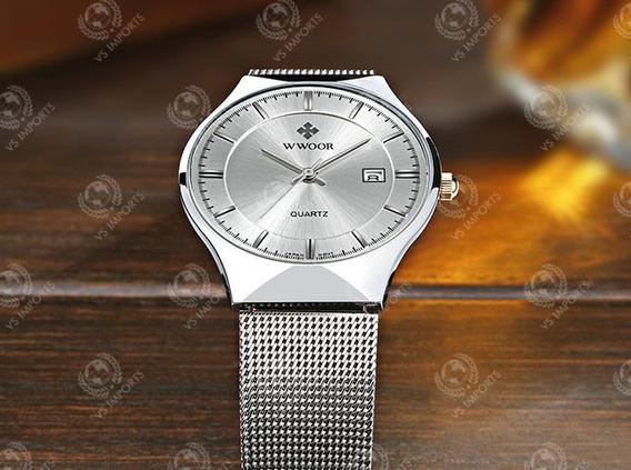 Relógio Luxo Slim Movimento Japonês Masculino Original Wwoor