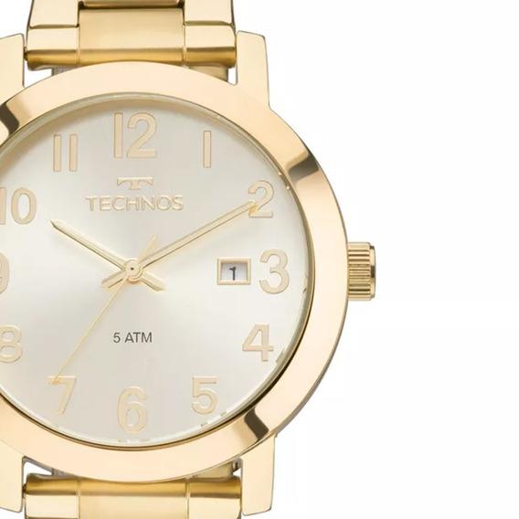 Relógio Technos Feminino Dourado Aço Dress 2115mnd/4x Original Com Caixa