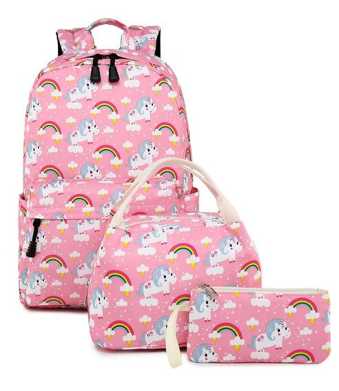 Maleta Con Bolsa De Almuerzo Unicornio Pink Set