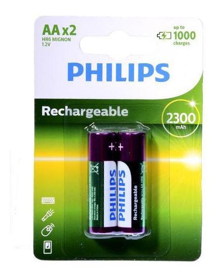 Pilha Recarregável Philips Aa 2300 Mah - 2 Un. - Lacrado