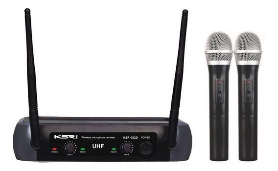 Microfone Sem Fio Duplo Ksr 002-d Ht Mão - Mão