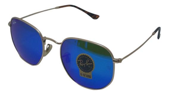 Óculos De Sol Hexagonal Retro Vintage Masculino Feminino Azul Espelhado Tamanho 54 G