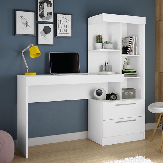Escrivaninha C/ Estante Office 2 Gavetas Branco Branco Rosa