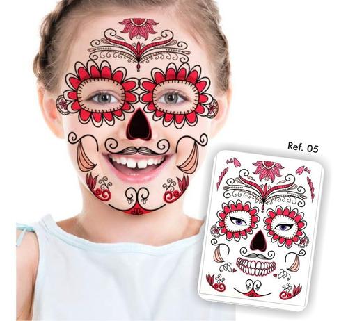 ¡ Tatuaje Temporal Roses Máscara Dia De Los Muertos !!