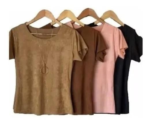 Kit 2 Blusas Suede T-shirts Atacado Moda Feminina