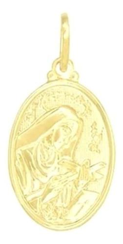 Imagem 1 de 4 de Colar 50cm Pingente  Oval Santa Rita Banhado A Ouro 18k