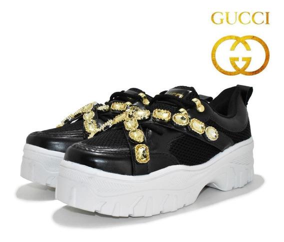 Tênis Plataforma Pedrinha Gucci Casual Feminino Lançamento !