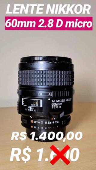 Lente Nikon Nikkor 60mm 2.8 D Micro