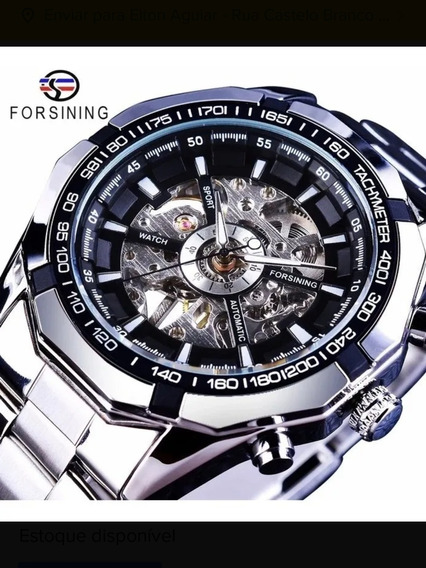 Relógio Forsining Automático Top Luxo De Aço Inoxidável