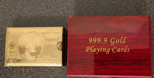 Juego Cartas/ Naipes Dorado-certificado Bañado En Oro 24k