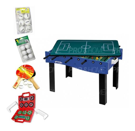 Kit Multijogos Galera Mesa 3 Em 1 Pebolim, Ping-pong Botão