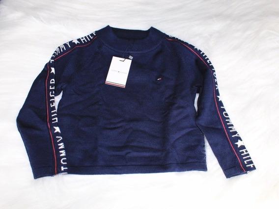 Blusa Tricô (suéter) Menina Marinho Cropped Tommy Hilfiger