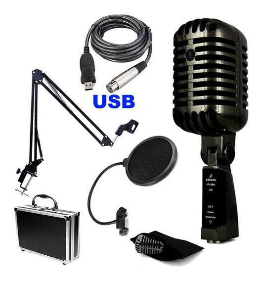 Microfone Arcano Vintage Cabo Usb Braço Pop Outros Itens