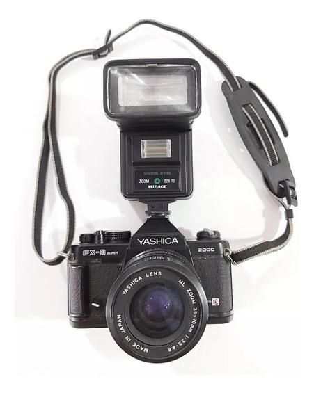 Câmera Analógica Yashica Fx3 Super - Com Lente E Flash