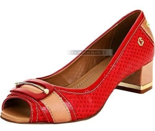 Sapato Peep Toe Original Carmen Steffens Couro Vermelho Bege