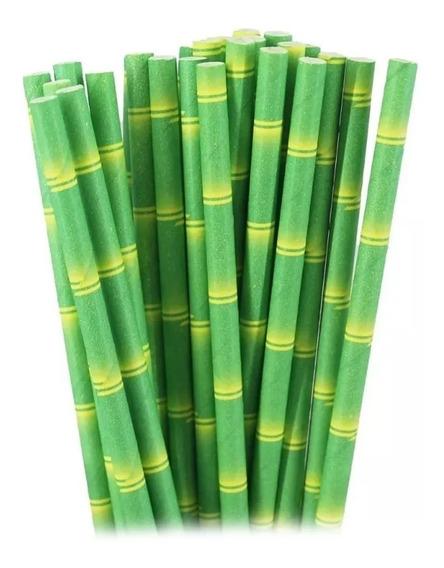 Popote Papel Biodegradable Bambu Ecologico 25 Paq