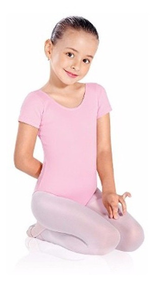 Malla Manga Corta Broches Ballet Rosada Talla Niñas