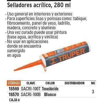 Sellador Acrilico Blanco 280 Ml Truper 18570