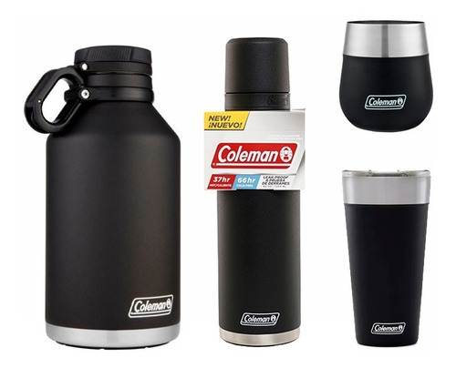 Combo Familiar Coleman Growler 1,9 + Termo 1,2 + Vaso + Mate