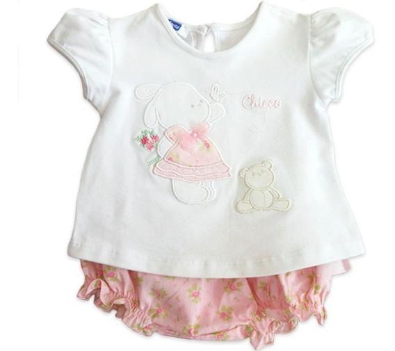 Conj Bebê Bata E Calcinha Babadinho Floral Chicco Menina 9 M