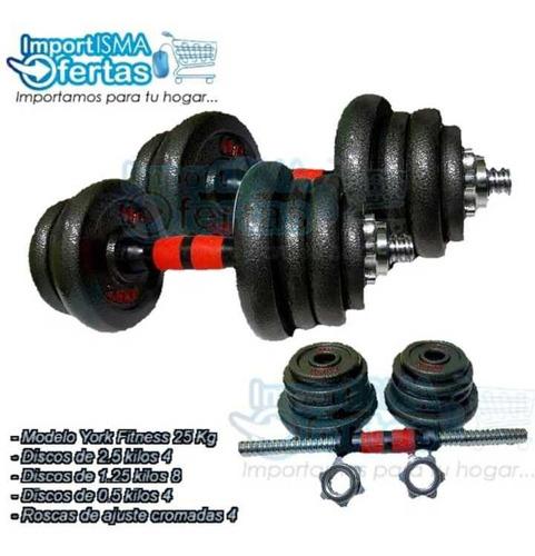 Set Kits Mancuernas Pesas 15 20 25 Y 30(kg) Disco Gym Barras