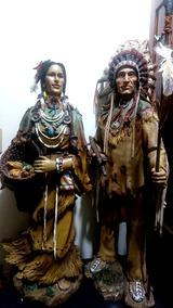 Escultura Realista Casal De Índios Xamã