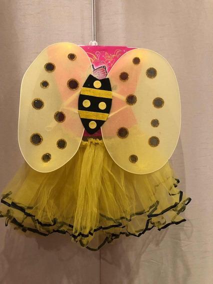 Disfraz De Abeja Alas Y Tutú Amarillo