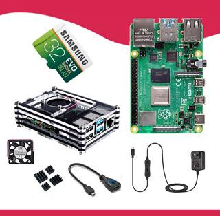 Kit Raspberry Pi 4 Micro Sd 32gb Disipadores Case Ventilador