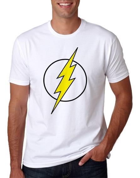 Camisa Masculina Super Herói Flash Manga Curta