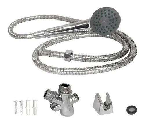 Imagen 1 de 3 de Kit Duchador De Mano Con Flexible Metalico Cromado Lb-5712