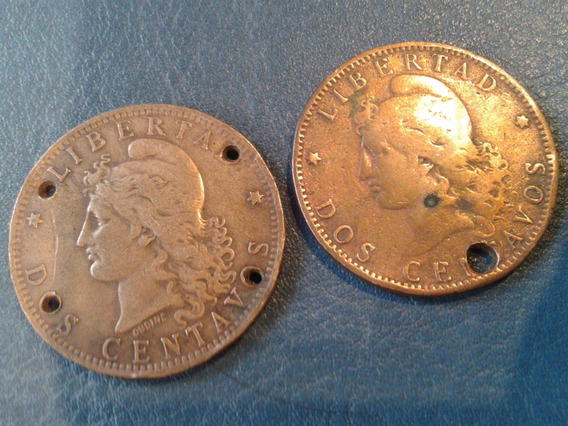 Lote Antiguas Moneda Patacon Cobre 2 Centavos Para Rastra