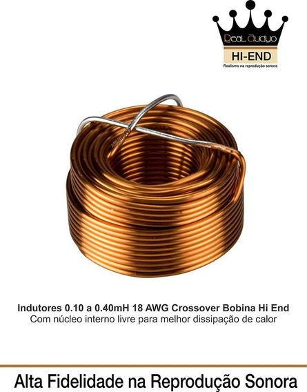 Indutor Crossover 0.10 A 0.40 Mh-18 Awg Real Audyo Hi-end