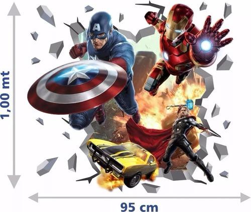 Imagem 1 de 4 de Adesivo Decorativo Parede Capitão América Homem Ferro Thor