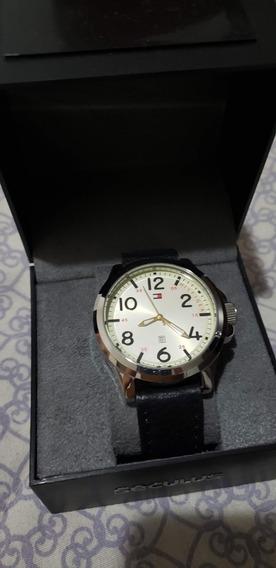 Relógio Tommy Hilfiger Masculino Com Pulseira Em Couro Preto