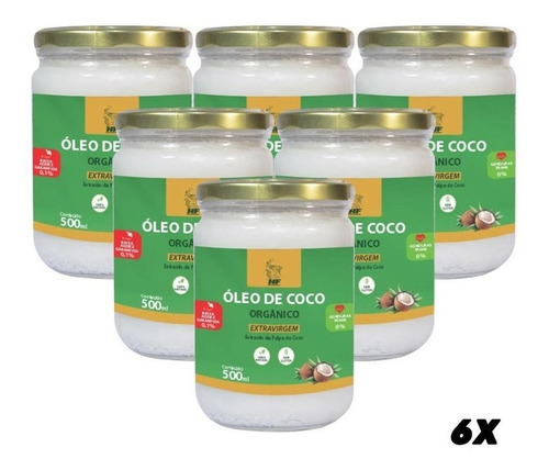 Imagem 1 de 3 de 6x Oleo De Coco 500ml Orgânico Extravirgem Hf Suplements