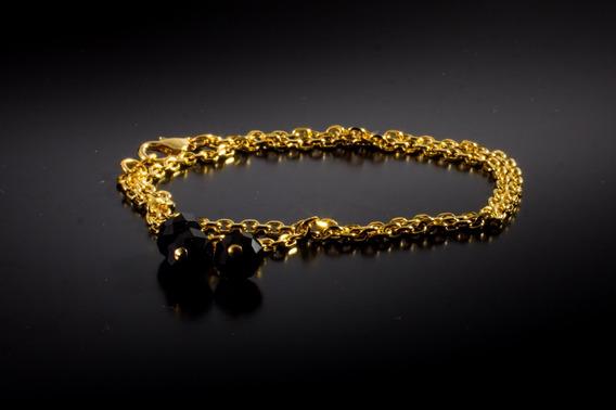 Pulseira Semi Joia Banhada Em Ouro Pedra Ônix Básica