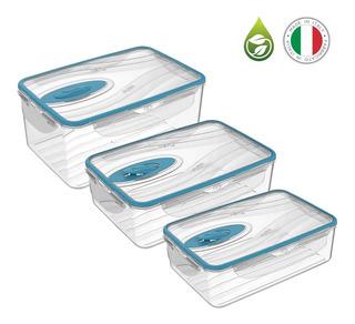 3 Recipientes Herméticos Plástico Italianos Almacenar Comida
