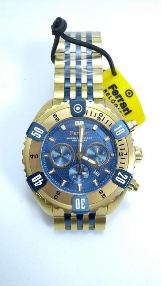 Relógio Masculino Dourado E Azul Cronógrafo Ferrari Fer7307