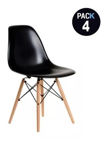 Pack 4 Sillas Eames Dsw Color Negro, Comedor, Bar, Negocio