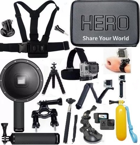 Kit P Gopro Hero 6 Hero 7 Dome 3 Way Película Mala Tripé