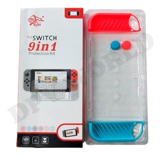 Nintendo Switch Kit 9 En 1 Silicon Joystick Polimero Rigido