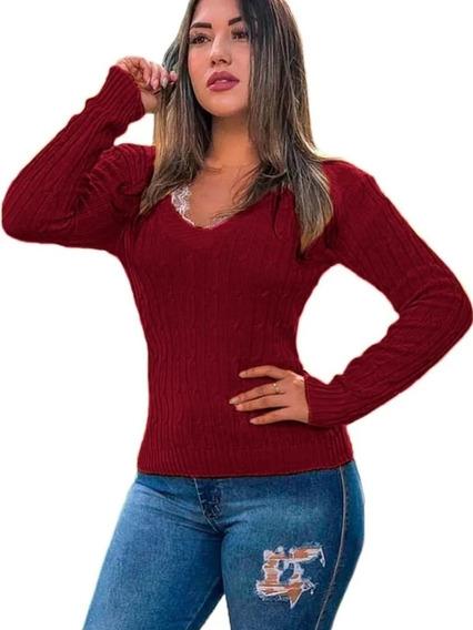Blusa Cardigan Tricot Trançadinho Feminina Roupas Ref:001
