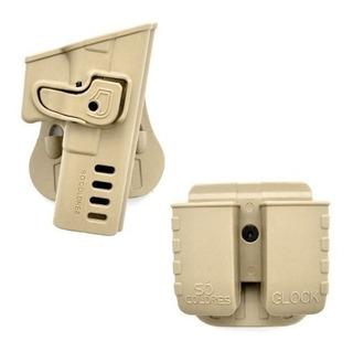 Coldre Canhoto Glock G17 + Porta Carregador Duplo - Tan Prf