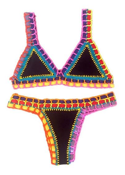Biquíni Neon Crochê Fitas Colorido Tendência Beachwear