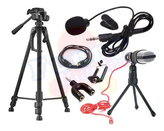 Kit Youtuber Tripé 1,70m Microfone Condensador Lapela Brinde