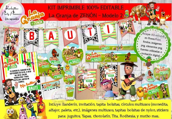 Kit Imprimible Candy Bar La Granja De Zenon 2 100% Editable